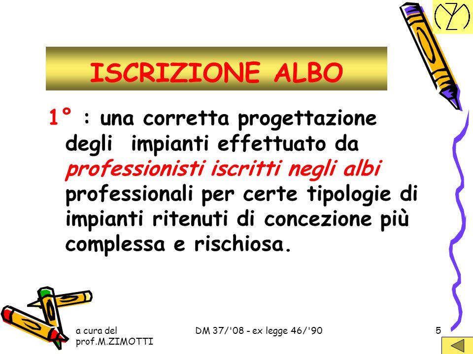 a cura del prof.M.ZIMOTTI DM 37/'08 - ex legge 46/'904 ASPETTI FOND.LI del DM 37/'08 Strumenti di prevenzione professionisti iscritti negli albi profe