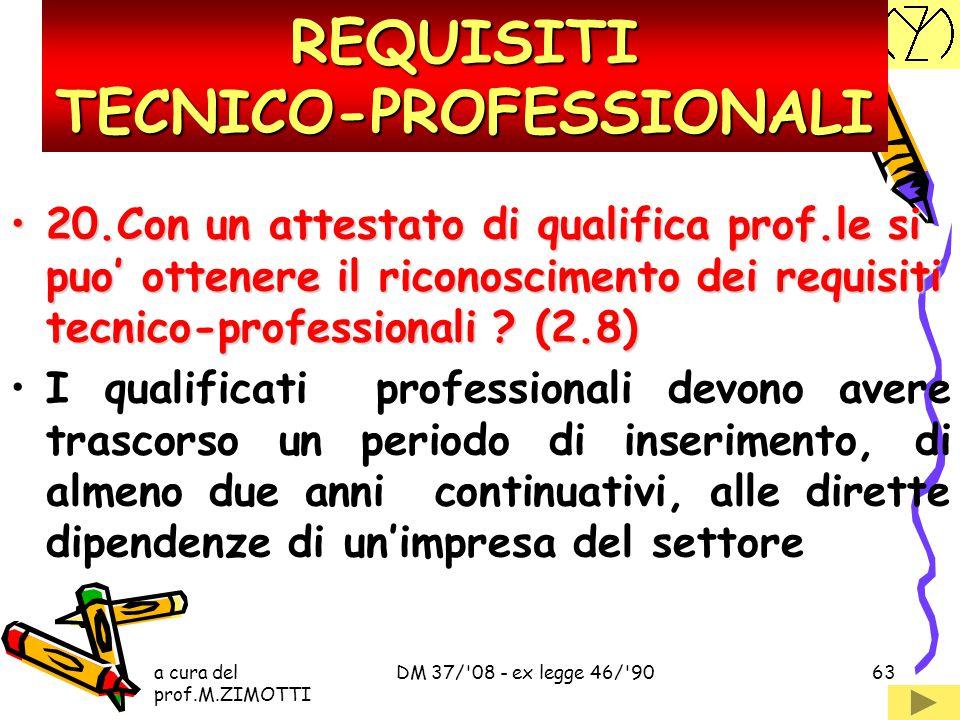 a cura del prof.M.ZIMOTTI DM 37/'08 - ex legge 46/'9062 19.E' sufficiente un diploma per avere i requisiti tecnico-professionali ? (2.7)19.E' sufficie