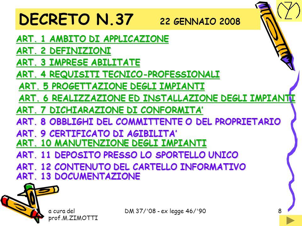 a cura del prof.M.ZIMOTTI DM 37/ 08 - ex legge 46/ 908 ART.