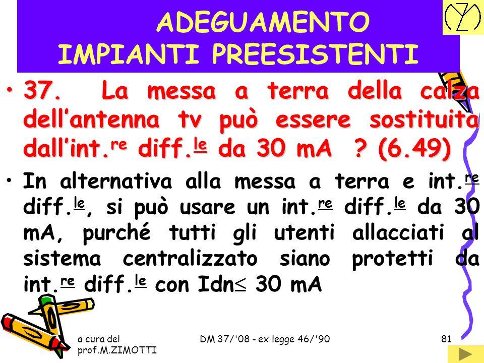 a cura del prof.M.ZIMOTTI DM 37/'08 - ex legge 46/'9080 ADEGUAMENTO IMPIANTI PREESISTENTI 36. L'impianto di antenna tv deve essere adeguato ? (6.48)36