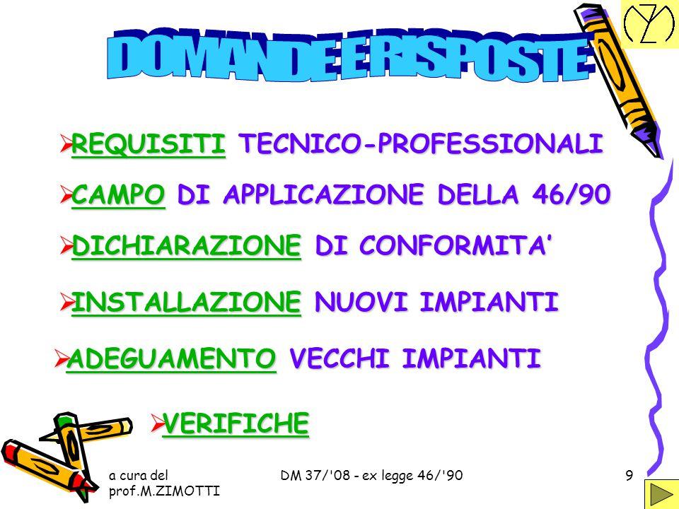 a cura del prof.M.ZIMOTTI DM 37/'08 - ex legge 46/'908 ART. 1 AMBITO DI APPLICAZIONE ART. 1 AMBITO DI APPLICAZIONE DECRETO N.37 22 GENNAIO 2008 ART. 2