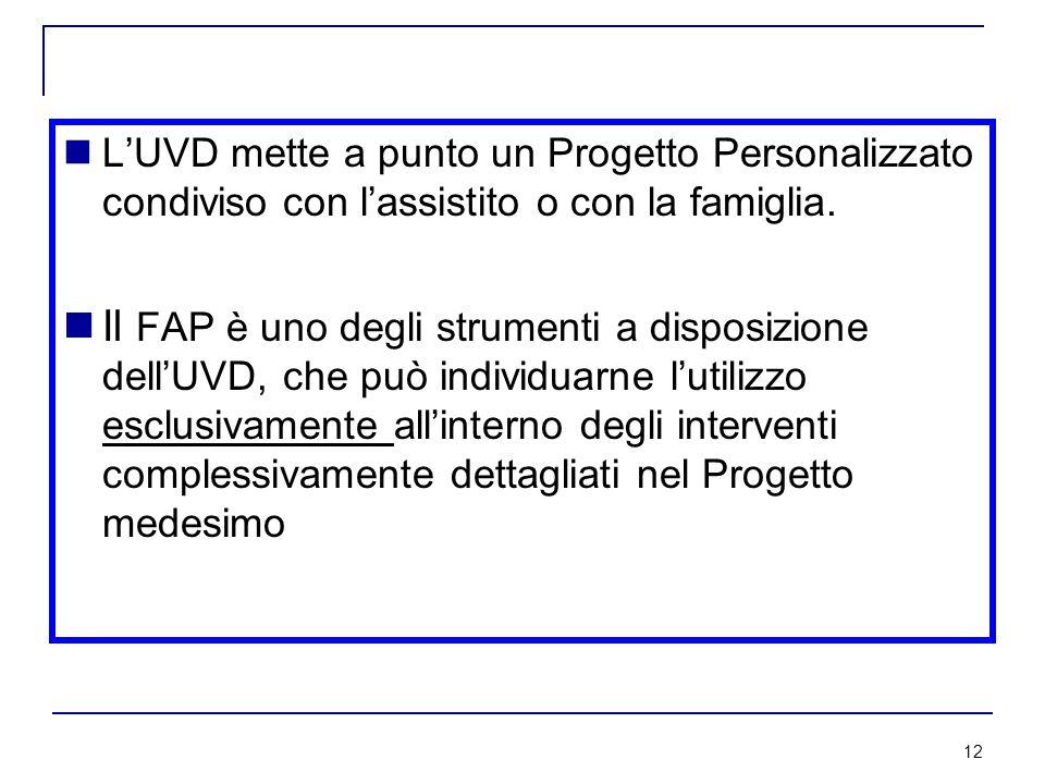 12 L'UVD mette a punto un Progetto Personalizzato condiviso con l'assistito o con la famiglia.