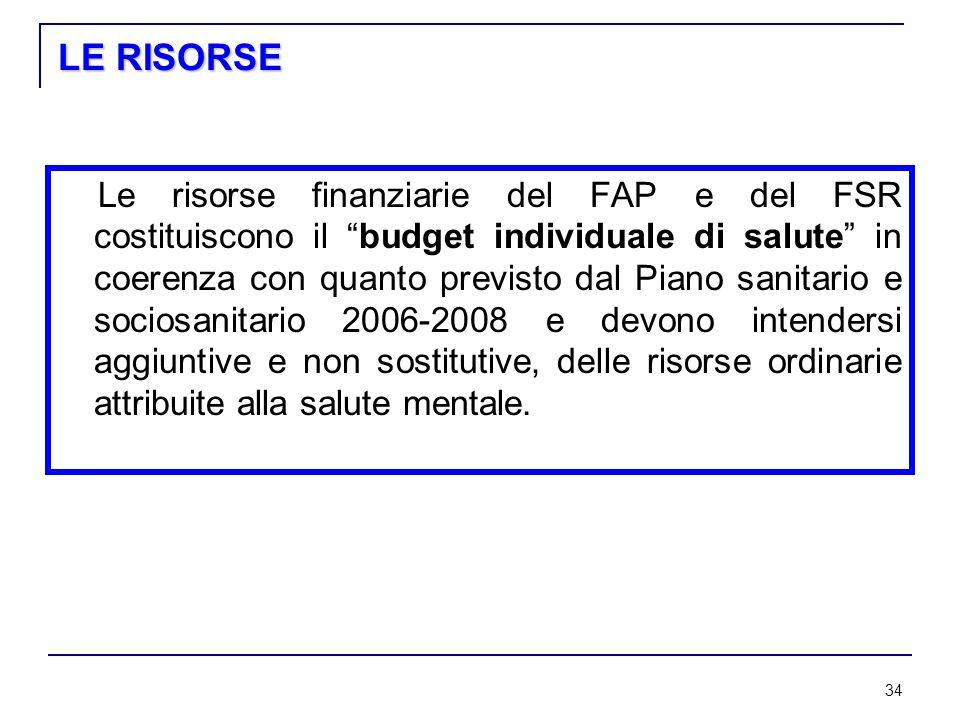 34 LE RISORSE Le risorse finanziarie del FAP e del FSR costituiscono il budget individuale di salute in coerenza con quanto previsto dal Piano sanitario e sociosanitario 2006-2008 e devono intendersi aggiuntive e non sostitutive, delle risorse ordinarie attribuite alla salute mentale.