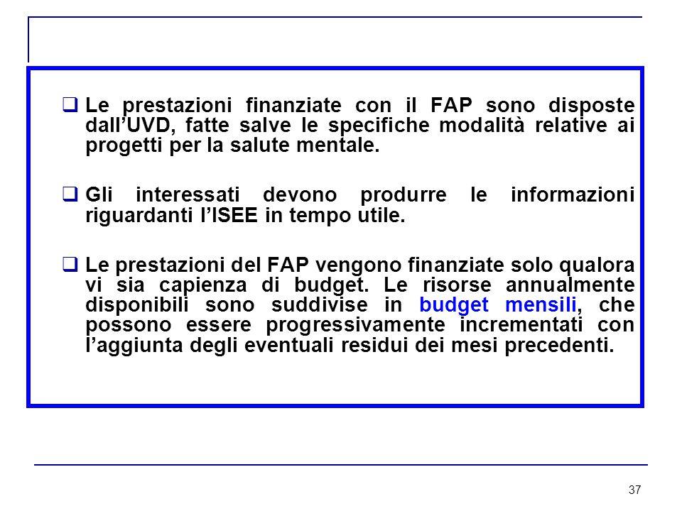 37  Le prestazioni finanziate con il FAP sono disposte dall'UVD, fatte salve le specifiche modalità relative ai progetti per la salute mentale.