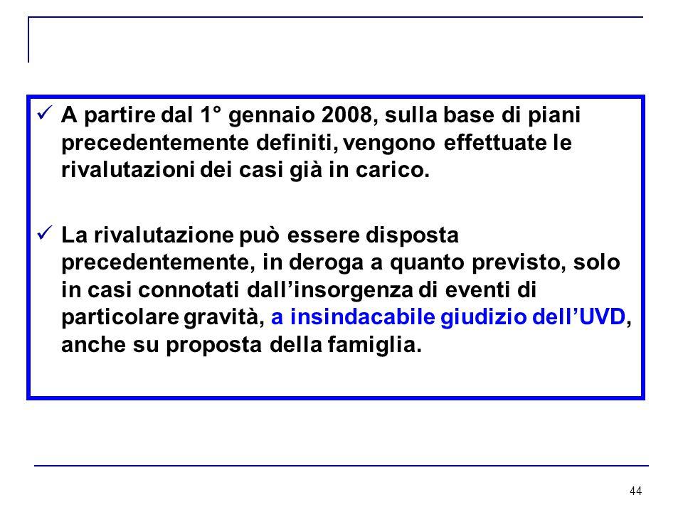 44 A partire dal 1° gennaio 2008, sulla base di piani precedentemente definiti, vengono effettuate le rivalutazioni dei casi già in carico.