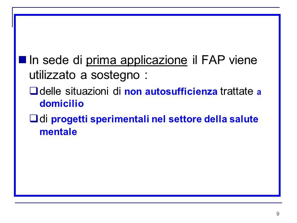 9 In sede di prima applicazione il FAP viene utilizzato a sostegno :  delle situazioni di non autosufficienza trattate a domicilio  di progetti sperimentali nel settore della salute mentale