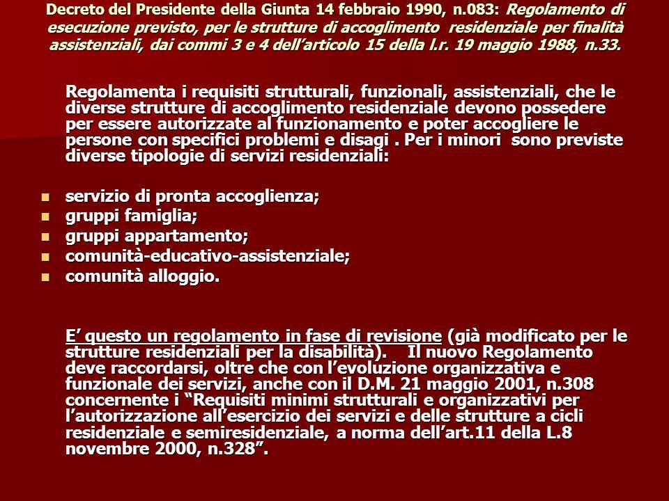 Decreto del Presidente della Giunta 14 febbraio 1990, n.083: Regolamento di esecuzione previsto, per le strutture di accoglimento residenziale per fin