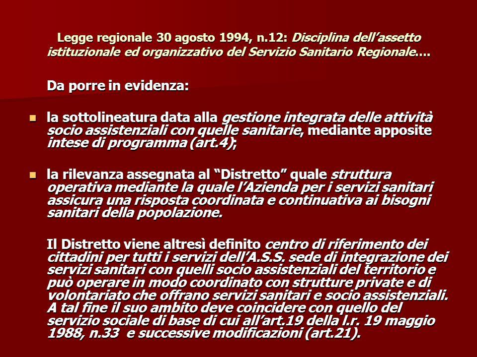Legge regionale 30 agosto 1994, n.12: Disciplina dell'assetto istituzionale ed organizzativo del Servizio Sanitario Regionale…. Da porre in evidenza: