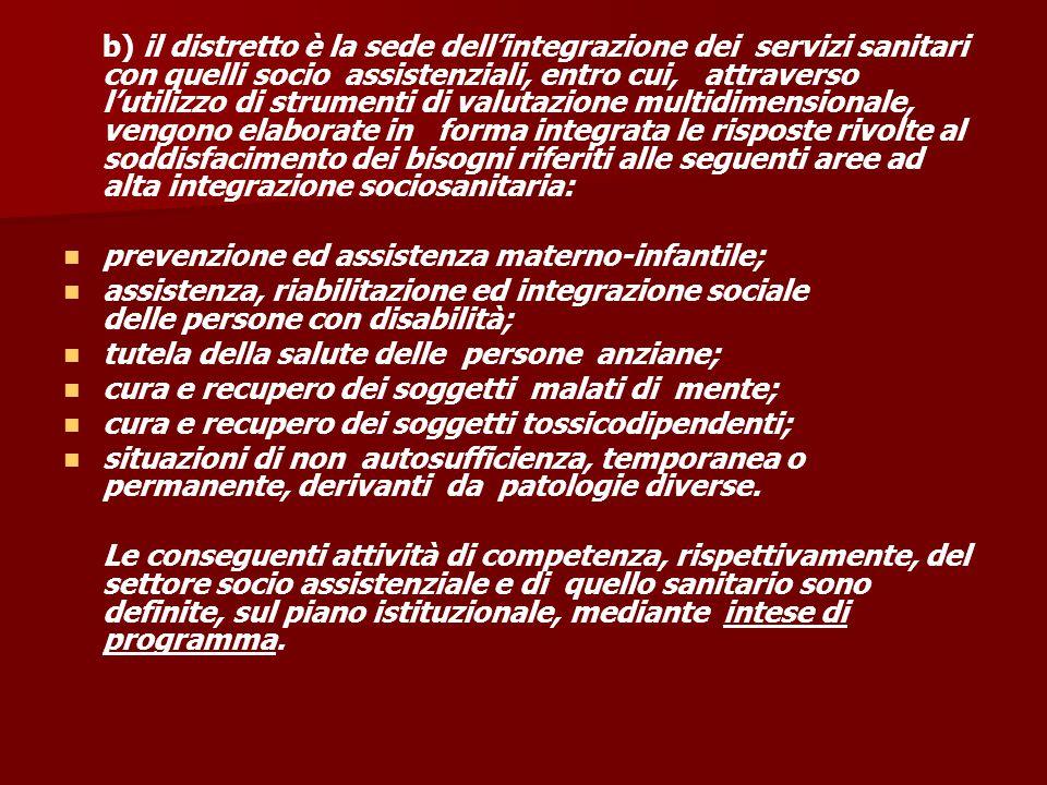 b) il distretto è la sede dell'integrazione dei servizi sanitari con quelli socio assistenziali, entro cui, attraverso l'utilizzo di strumenti di valu