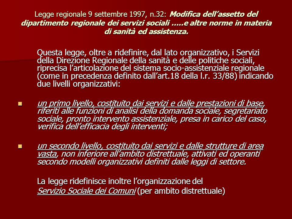Legge regionale 9 settembre 1997, n.32: Modifica dell'assetto del dipartimento regionale dei servizi sociali …..e altre norme in materia di sanità ed