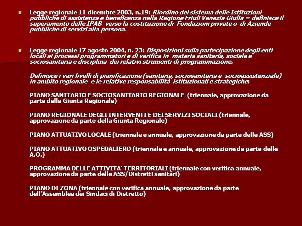 Legge regionale 11 dicembre 2003, n.19: Riordino del sistema delle Istituzioni pubbliche di assistenza e beneficenza nella Regione Friuli Venezia Giul