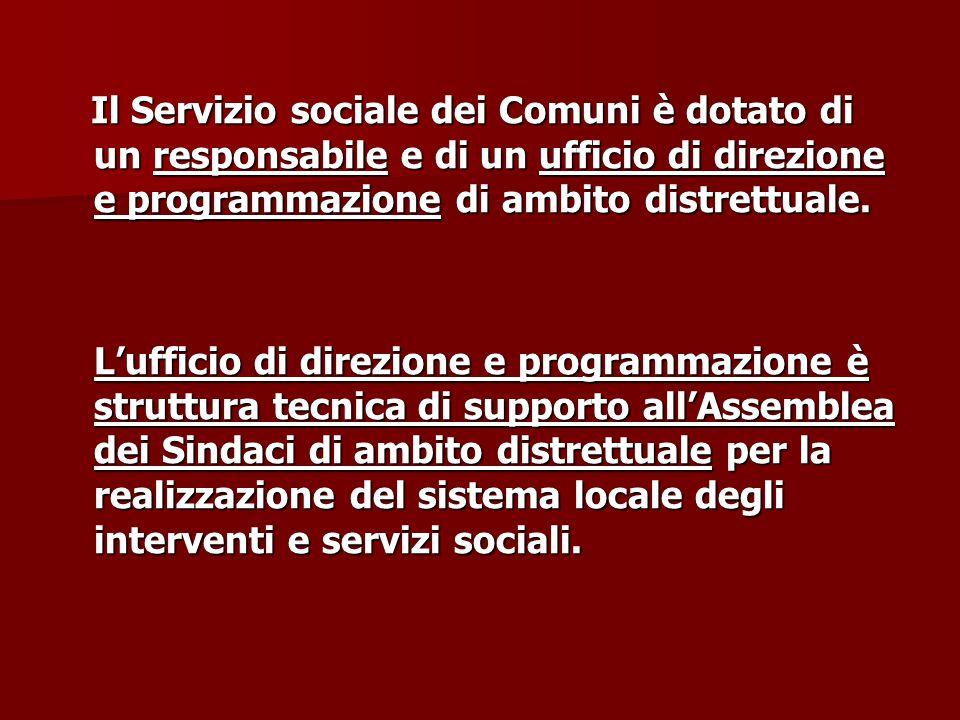 Il Servizio sociale dei Comuni è dotato di un responsabile e di un ufficio di direzione e programmazione di ambito distrettuale. Il Servizio sociale d