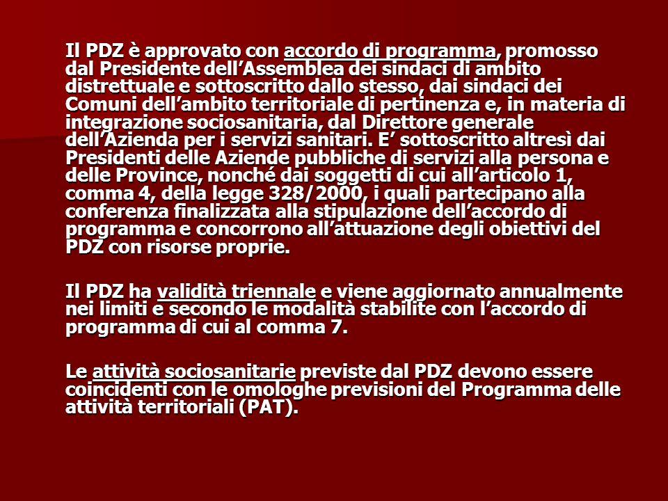 Il PDZ è approvato con accordo di programma, promosso dal Presidente dell'Assemblea dei sindaci di ambito distrettuale e sottoscritto dallo stesso, da