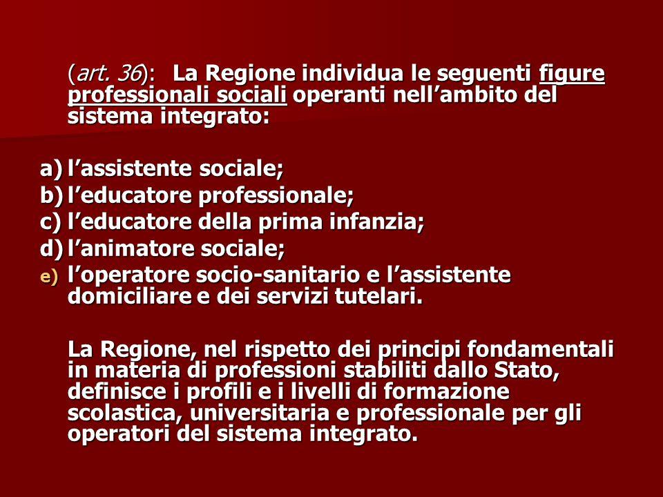 (art. 36):La Regione individua le seguenti figure professionali sociali operanti nell'ambito del sistema integrato: a)l'assistente sociale; b)l'educat