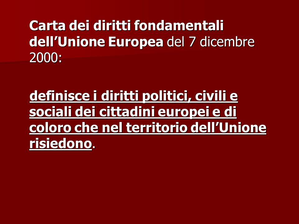 Carta dei diritti fondamentali dell'Unione Europea del 7 dicembre 2000: definisce i diritti politici, civili e sociali dei cittadini europei e di colo