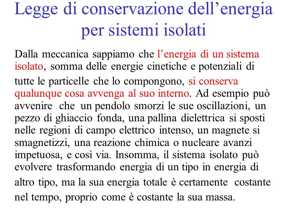 Legge di conservazione dell'energia per sistemi isolati Dalla meccanica sappiamo che l'energia di un sistema isolato, somma delle energie cinetiche e