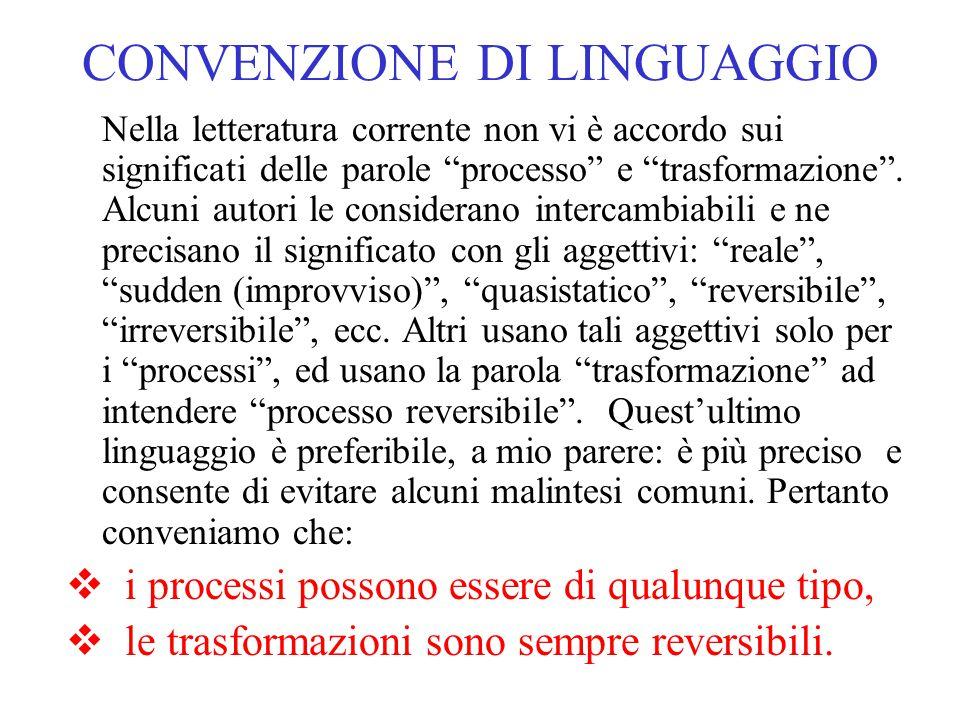 """CONVENZIONE DI LINGUAGGIO Nella letteratura corrente non vi è accordo sui significati delle parole """"processo"""" e """"trasformazione"""". Alcuni autori le con"""