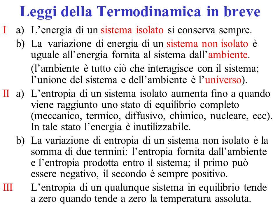 Leggi della Termodinamica in breve I a)L'energia di un sistema isolato si conserva sempre. b)La variazione di energia di un sistema non isolato è ugua