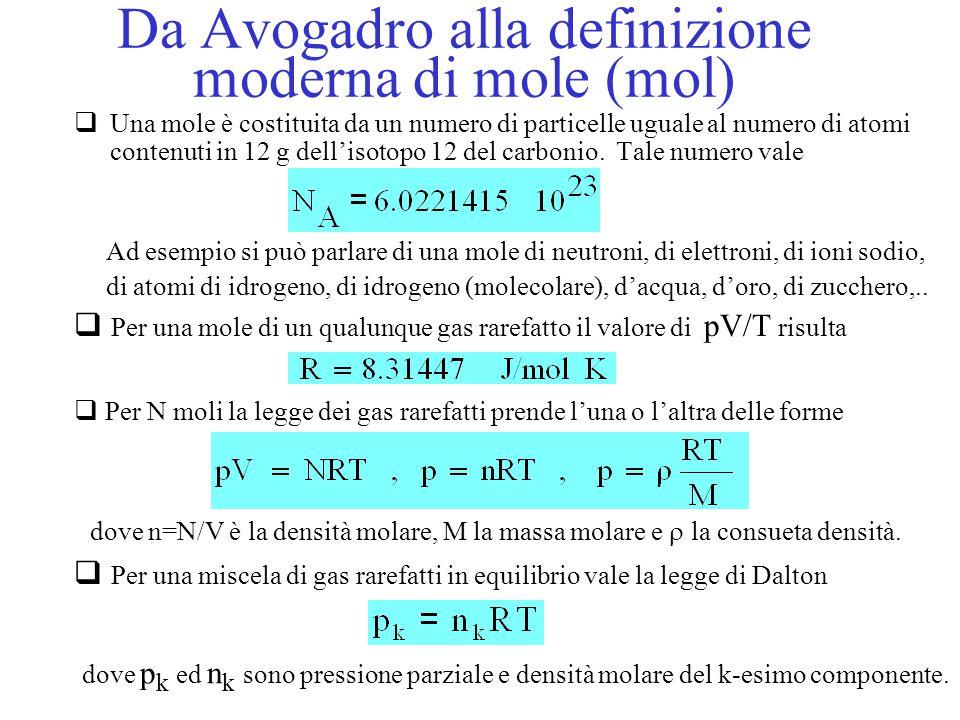Da Avogadro alla definizione moderna di mole (mol)  Una mole è costituita da un numero di particelle uguale al numero di atomi contenuti in 12 g dell