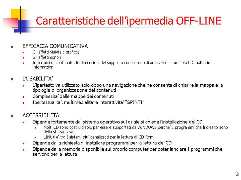3 Caratteristiche dell'ipermedia OFF-LINE EFFICACIA COMUNICATIVA Gli effetti visivi (la grafica) Gli effetti sonori In termini di contenuto: le dimensioni del supporto consentono di archiviare su un solo CD moltissime informazioni L'USABILITA' L'ipertesto va utilizzato solo dopo una navigazione che ne consenta di chiarire la mappa e la tipologia di organizzazione dei contenuti Complessita' delle mappe dei contenuti Ipertestualita', multimedialita' e interattivita' SPINTI ACCESSIBILITA' Dipende fortemente dal sistema operativo sul quale si chiede l'installazione del CD Molti CD sono costruiti solo per essere supportati da WINDOWS perche' I programmi che li creano sono della stessa casa LINUX e' tra I sistemi piu' penalizzati per la lettura di CD-Rom Dipende dalla richiesta di installare programmi per la lettura del CD Dipende dalla memoria disponibile sul proprio computer per poter lanciare I programmi che servono per la lettura