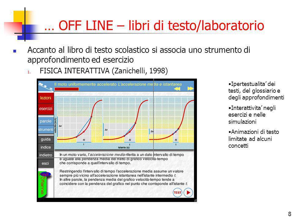 8 … OFF LINE – libri di testo/laboratorio Accanto al libro di testo scolastico si associa uno strumento di approfondimento ed esercizio 1. FISICA INTE