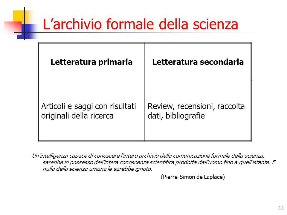 11 L'archivio formale della scienza Letteratura primariaLetteratura secondaria Articoli e saggi con risultati originali della ricerca Review, recensio