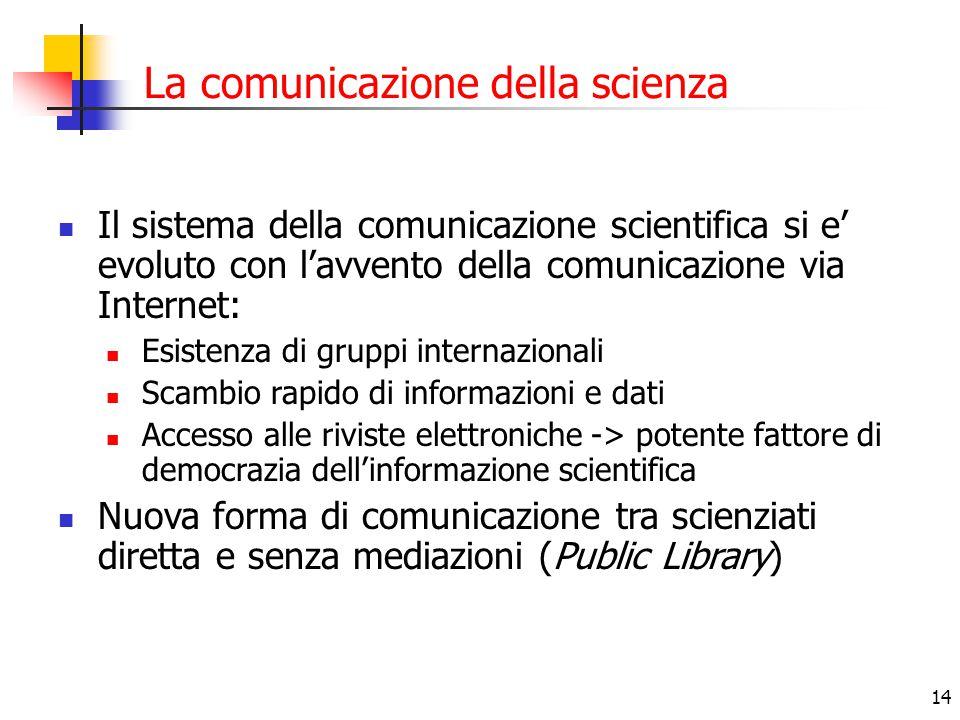14 La comunicazione della scienza Il sistema della comunicazione scientifica si e' evoluto con l'avvento della comunicazione via Internet: Esistenza d