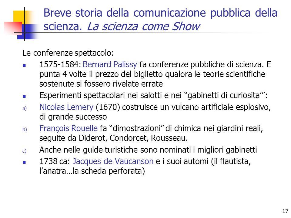 17 Le conferenze spettacolo: 1575-1584: Bernard Palissy fa conferenze pubbliche di scienza. E punta 4 volte il prezzo del biglietto qualora le teorie