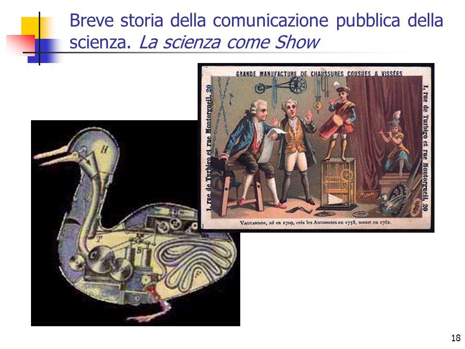 18 Breve storia della comunicazione pubblica della scienza. La scienza come Show