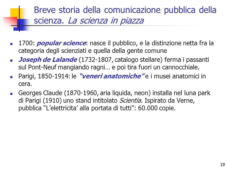 19 1700: popular science: nasce il pubblico, e la distinzione netta fra la categoria degli scienziati e quella della gente comune Joseph de Lalande (1