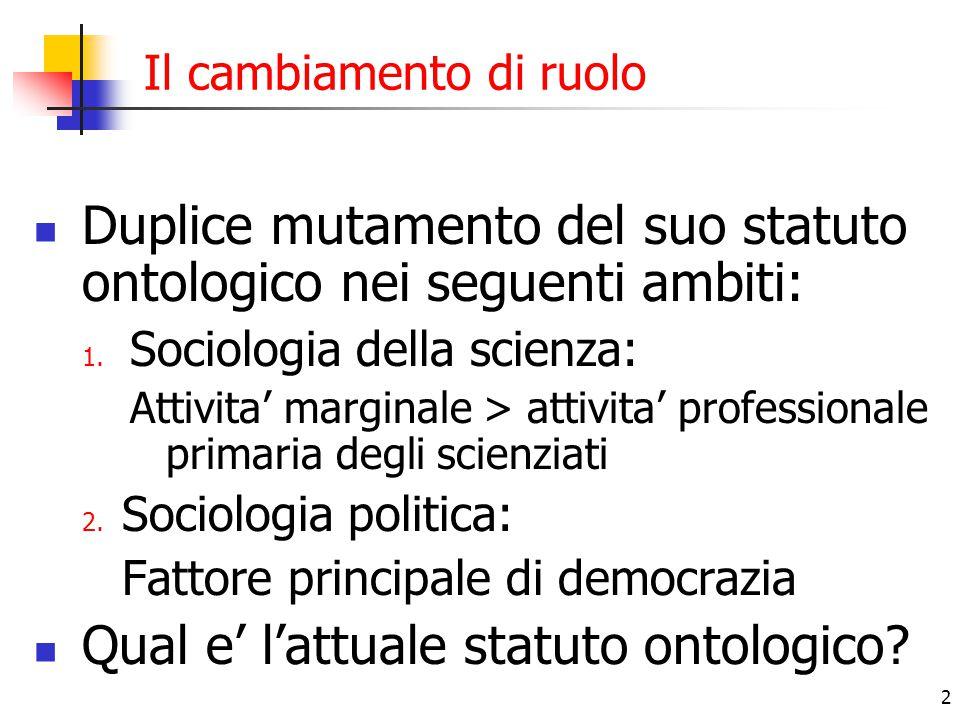 2 Il cambiamento di ruolo Duplice mutamento del suo statuto ontologico nei seguenti ambiti: 1. Sociologia della scienza: Attivita' marginale > attivit