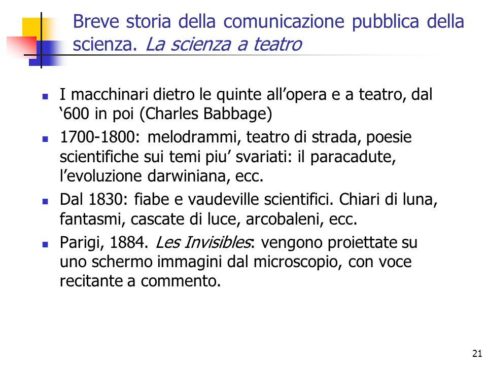 21 I macchinari dietro le quinte all'opera e a teatro, dal '600 in poi (Charles Babbage) 1700-1800: melodrammi, teatro di strada, poesie scientifiche
