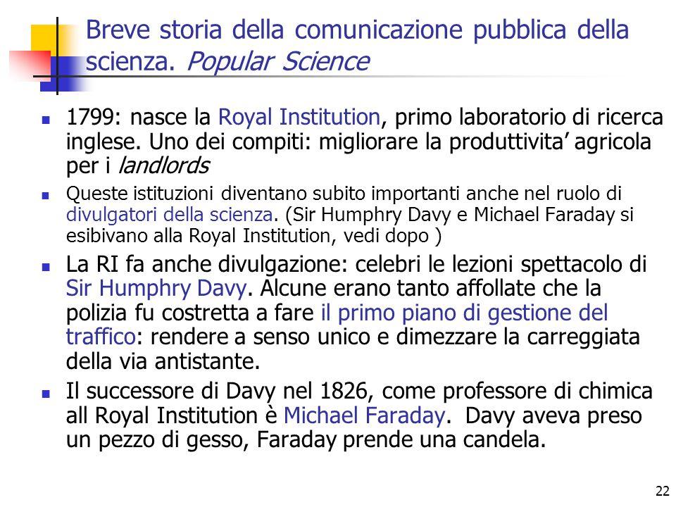 22 Breve storia della comunicazione pubblica della scienza. Popular Science 1799: nasce la Royal Institution, primo laboratorio di ricerca inglese. Un