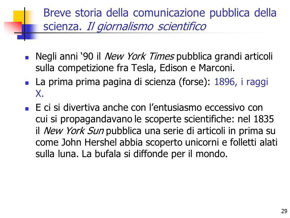 29 Negli anni '90 il New York Times pubblica grandi articoli sulla competizione fra Tesla, Edison e Marconi.