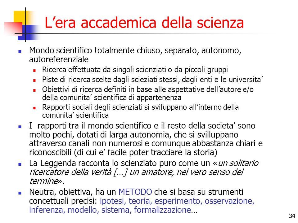 34 L'era accademica della scienza Mondo scientifico totalmente chiuso, separato, autonomo, autoreferenziale Ricerca effettuata da singoli scienziati o