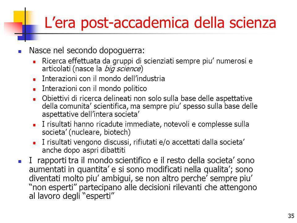 35 L'era post-accademica della scienza Nasce nel secondo dopoguerra: Ricerca effettuata da gruppi di scienziati sempre piu' numerosi e articolati (nas