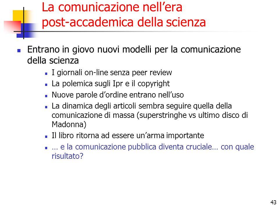 43 La comunicazione nell'era post-accademica della scienza Entrano in giovo nuovi modelli per la comunicazione della scienza I giornali on-line senza