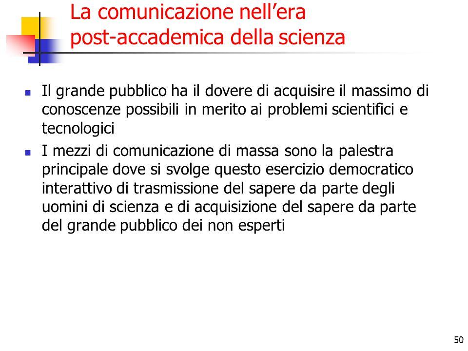 50 La comunicazione nell'era post-accademica della scienza Il grande pubblico ha il dovere di acquisire il massimo di conoscenze possibili in merito a
