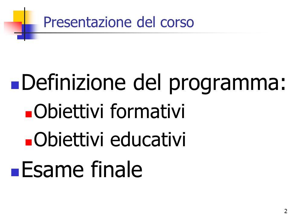 2 Presentazione del corso Definizione del programma: Obiettivi formativi Obiettivi educativi Esame finale