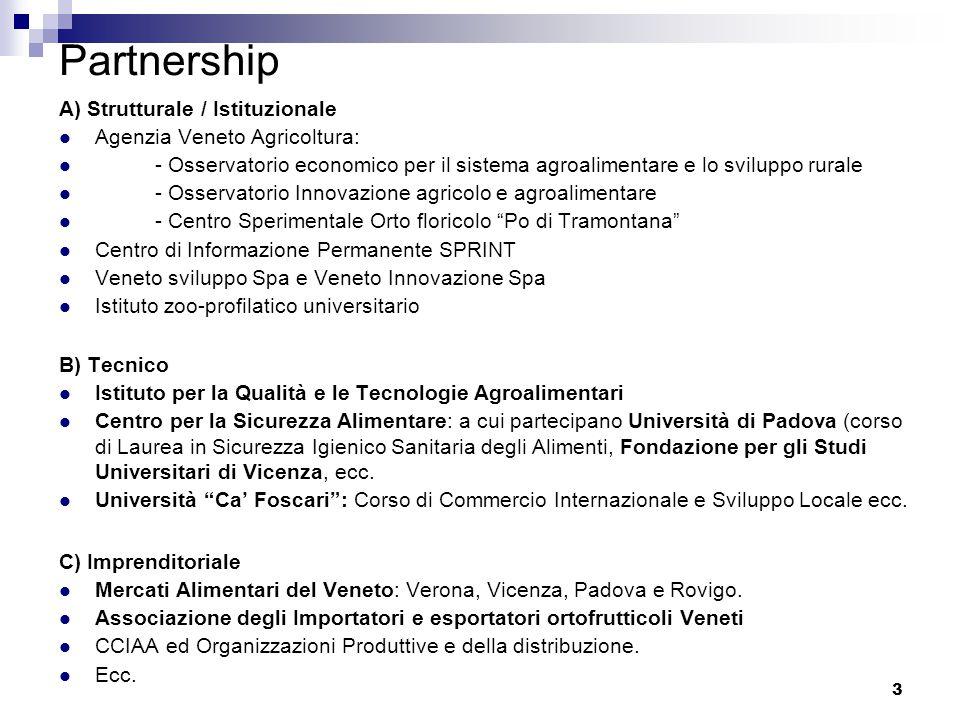3 Partnership A) Strutturale / Istituzionale Agenzia Veneto Agricoltura: - Osservatorio economico per il sistema agroalimentare e lo sviluppo rurale - Osservatorio Innovazione agricolo e agroalimentare - Centro Sperimentale Orto floricolo Po di Tramontana Centro di Informazione Permanente SPRINT Veneto sviluppo Spa e Veneto Innovazione Spa Istituto zoo-profilatico universitario B) Tecnico Istituto per la Qualità e le Tecnologie Agroalimentari Centro per la Sicurezza Alimentare: a cui partecipano Università di Padova (corso di Laurea in Sicurezza Igienico Sanitaria degli Alimenti, Fondazione per gli Studi Universitari di Vicenza, ecc.