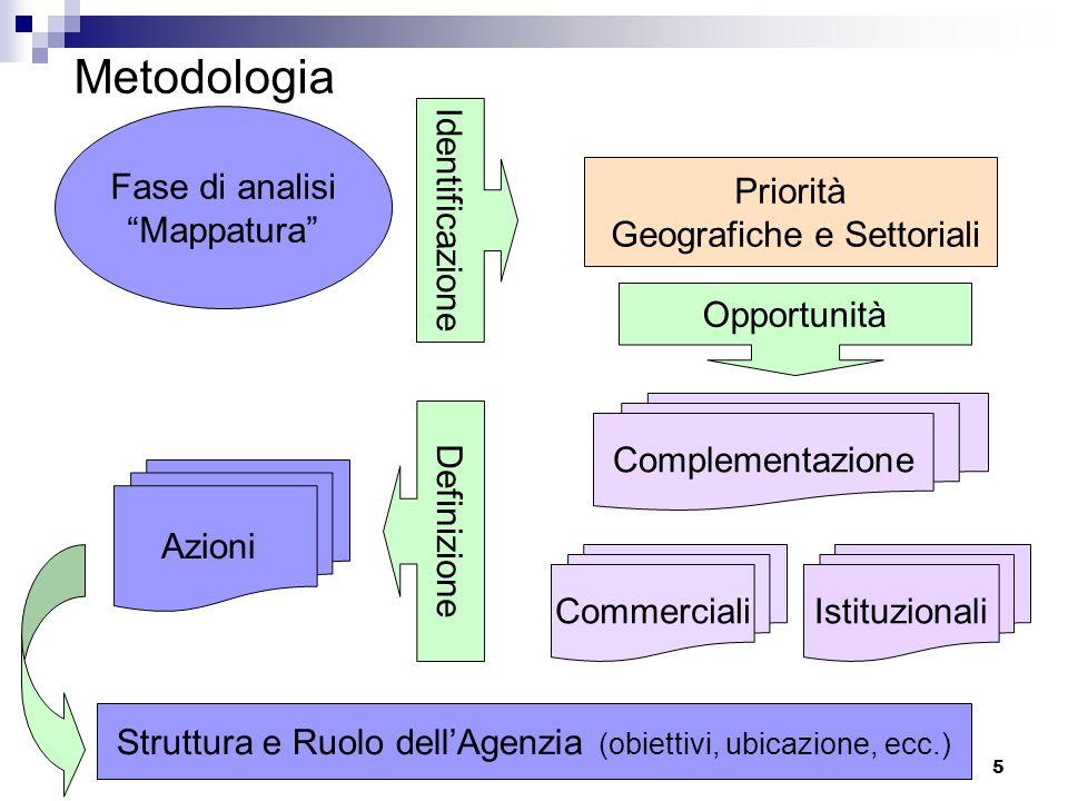 5 Metodologia Fase di analisi Mappatura Identificazione Priorità Geografiche e Settoriali Opportunità Complementazione IstituzionaliCommerciali Definizione Azioni Struttura e Ruolo dell'Agenzia (obiettivi, ubicazione, ecc.)