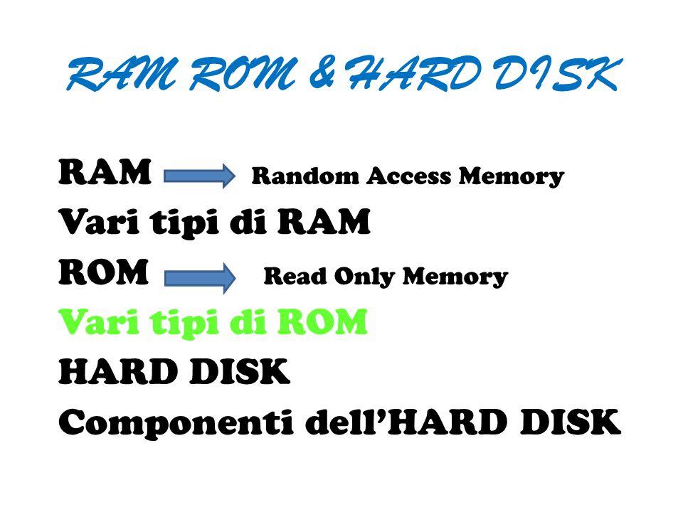 RAM ROM & HARD DISK RAM Random Access Memory Vari tipi di RAM ROM Read Only Memory Vari tipi di ROM HARD DISK Componenti dell'HARD DISK