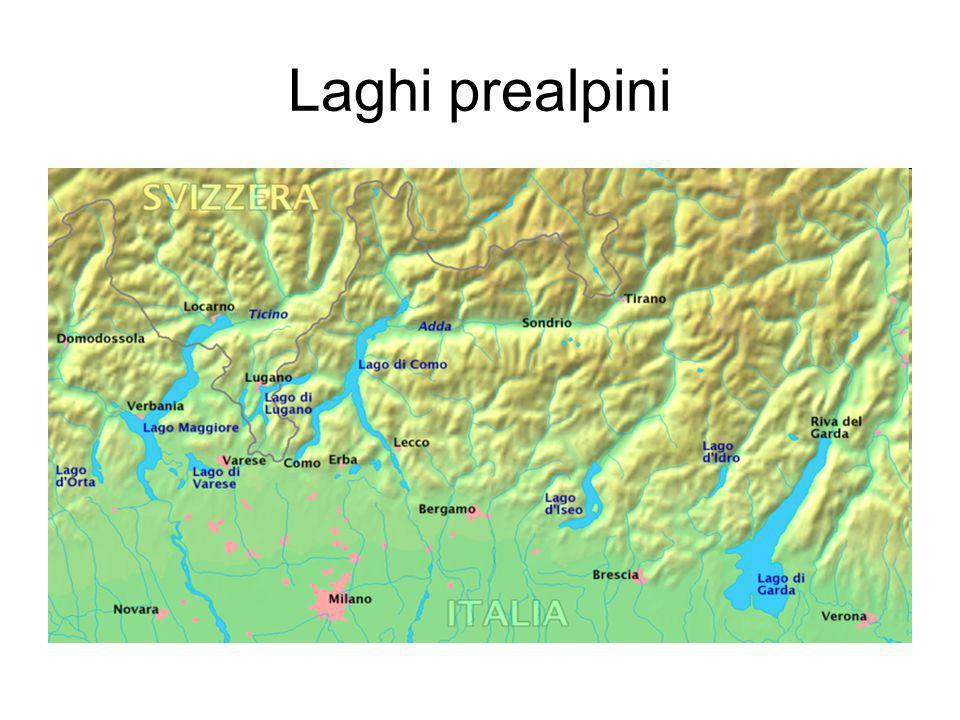 Genesi dei laghi subalpini I laghi prealpini più importanti sono: il Lago Maggiore il Lago di Lugano il Lago di Como il Lago d Iseo il Lago di Garda Sono i più grandi ed i più importanti, perché costituiscono ottimi bacini, in cui i fiumi alpini frenano il loro impeto e purificano le loro acque, depositando i materiali trasportati.