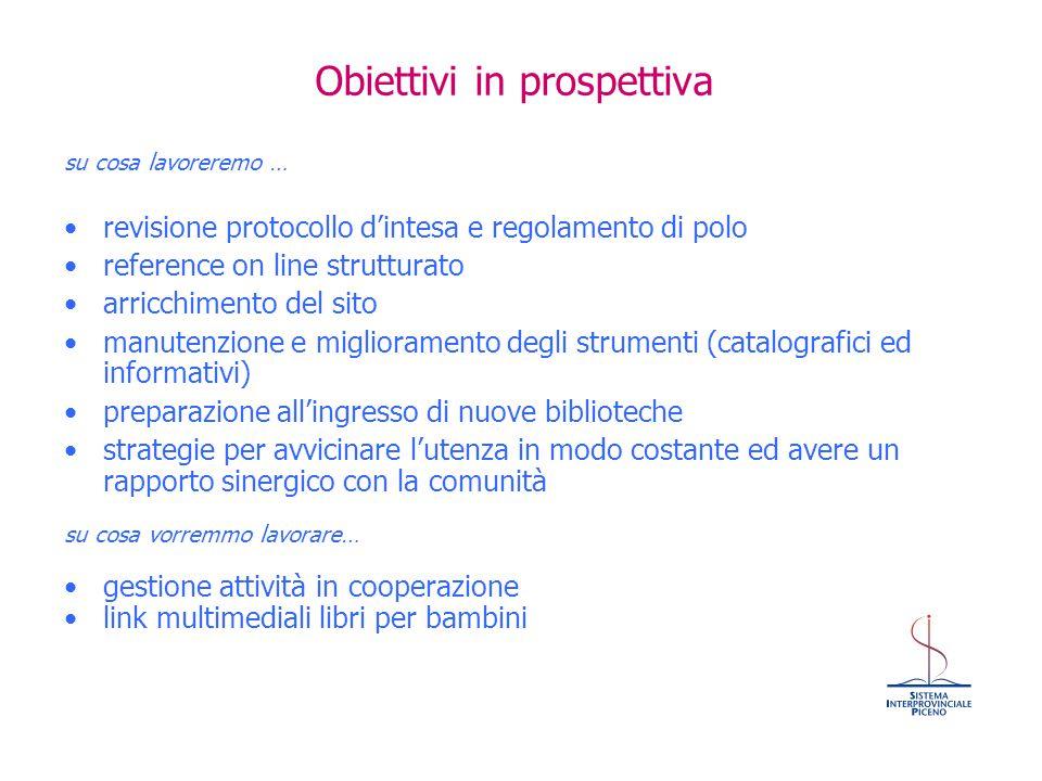Obiettivi in prospettiva su cosa lavoreremo … revisione protocollo d'intesa e regolamento di polo reference on line strutturato arricchimento del sito