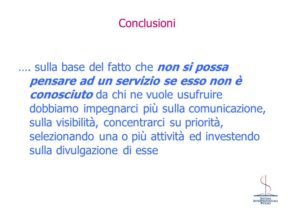 Conclusioni …. sulla base del fatto che non si possa pensare ad un servizio se esso non è conosciuto da chi ne vuole usufruire dobbiamo impegnarci più