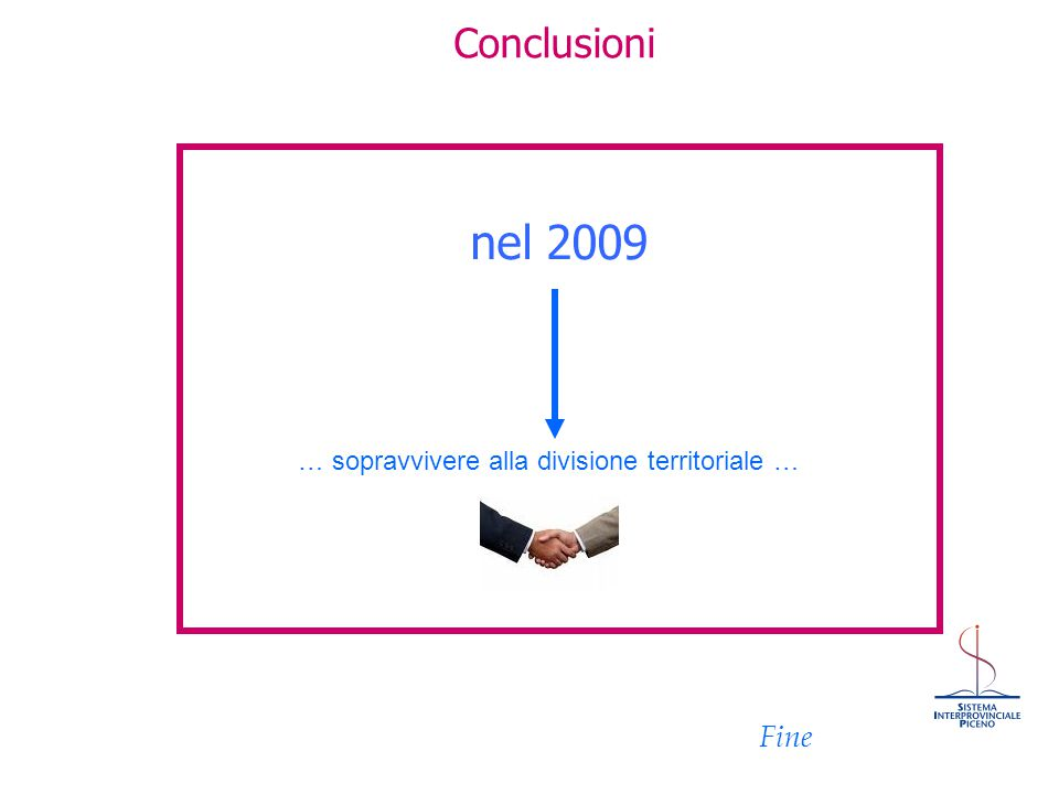 Conclusioni nel 2009 Fine … sopravvivere alla divisione territoriale …
