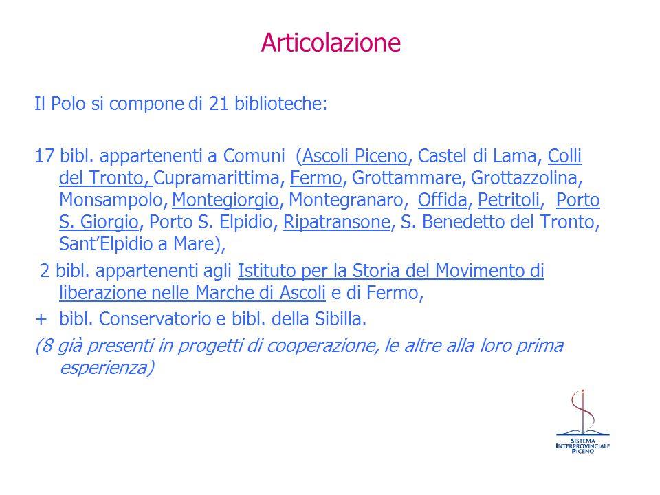 Articolazione Il Polo si compone di 21 biblioteche: 17 bibl. appartenenti a Comuni (Ascoli Piceno, Castel di Lama, Colli del Tronto, Cupramarittima, F