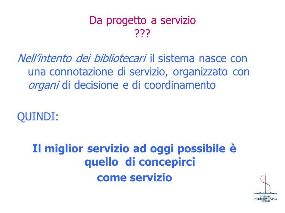 Da progetto a servizio ??? Nell'intento dei bibliotecari il sistema nasce con una connotazione di servizio, organizzato con organi di decisione e di c