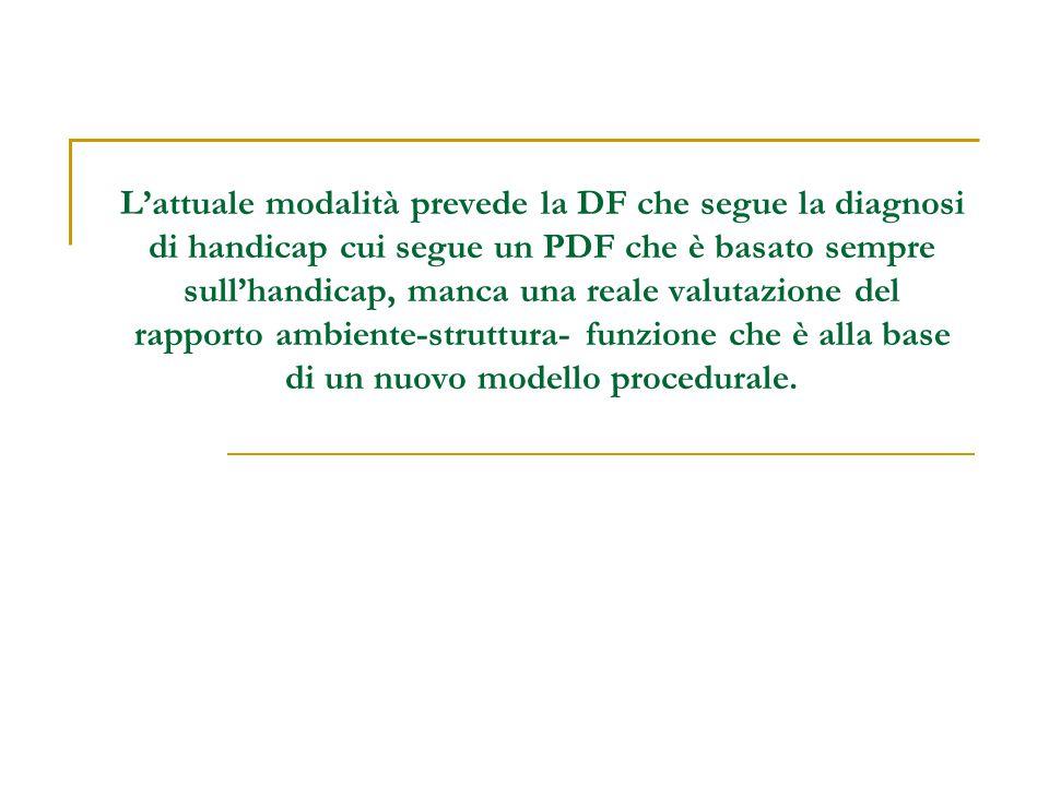 L'attuale modalità prevede la DF che segue la diagnosi di handicap cui segue un PDF che è basato sempre sull'handicap, manca una reale valutazione del