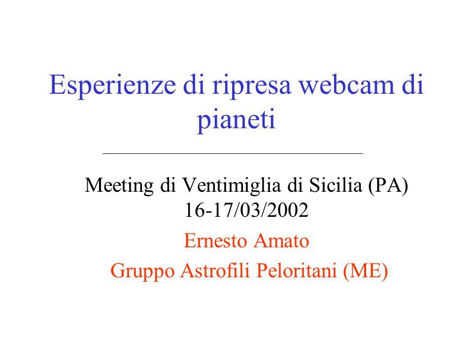 Esperienze di ripresa webcam di pianeti Meeting di Ventimiglia di Sicilia (PA) 16-17/03/2002 Ernesto Amato Gruppo Astrofili Peloritani (ME)